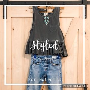 Free People charcoal destroyed hem cropped tank